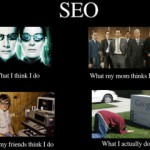 """What people think I do"" – meme med SEO och Sociala Medier."