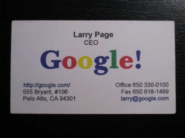 Larry Page Visitkort frn 1998