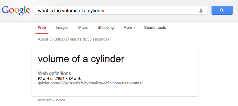 Söktips - what is the volume of a cylinder