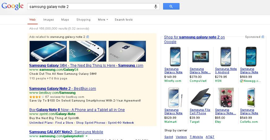 Samsung Galaxy Note 2 - SERP