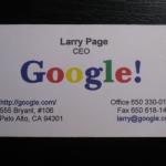 Larry Page visitkort från 1998